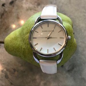 Anne Klein white leather band watch